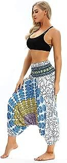 Boho Print Yoga Pants Womens Men High Waist Casual Summer Loose Baggy Jumpsuit Elastic Waist Harem Trousers