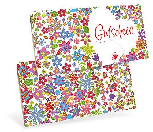 Verschiedene Gutscheinkarten (10 Stück) für Einzelhandel, Geschenkartikel, Kunst-Gewerbe - DIN lang Faltkarte verschließbar