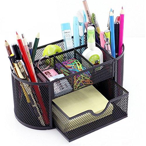vonimus Schreibtischset, Mesh spezifische Caddy Schreibtisch Organizer Set Office Tidy Organizer Metall Bleistift Topf Bleistift Halterung (schwarz)