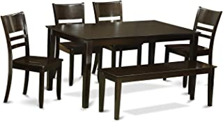 CALY6-CAP-W 6-Pc Dining room set with bench - Dining Table and 4 ding room Chairs and Bench