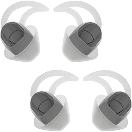 Replacement Silicone Earbuds Ear Buds Tips Eargel Isolation Double Flange for Bose QuietControl 30 QC20 QC20i QC30 Soundsport Free SIE2 IE2 IE3 Wireless Headphones Earphones - 2 Pair (Medium, White)