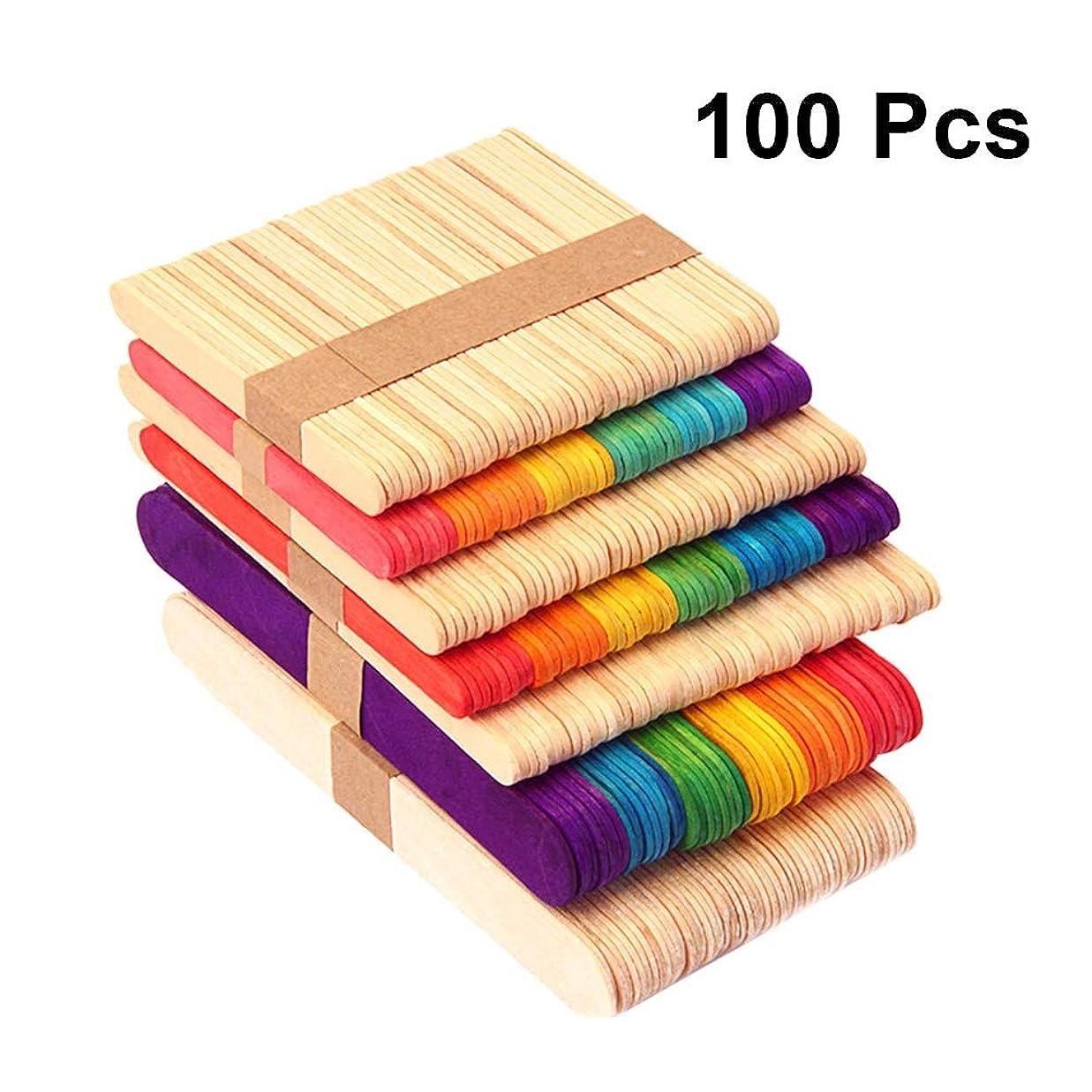 馬鹿ワームアスリート100ピース木製のクラフトスティック子供おもちゃ着色されたウッドスティック用diy工芸クリエイティブデザイン