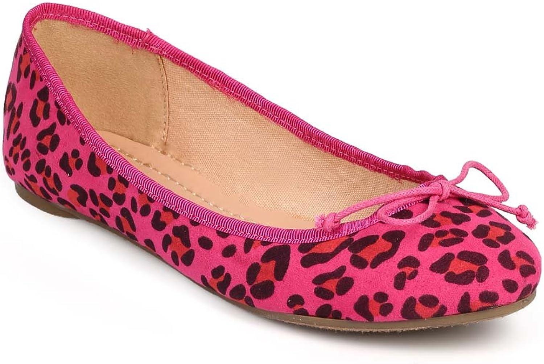 Wild Diva Women Vibrant Leopard Suede Round Toe Bow Slip On Ballet Flat DG49 - Fuchsia