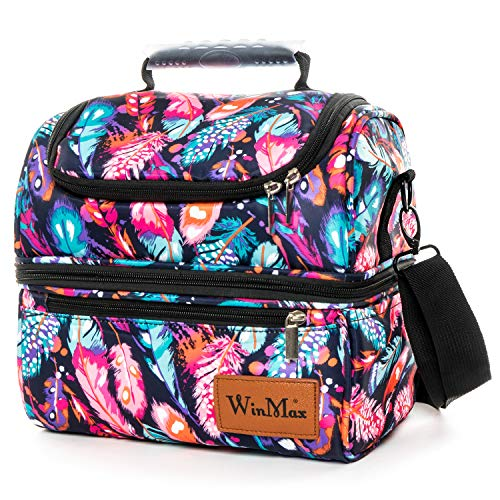 Lunch Bags for WomenMen Lunch Boxes Insulated Lunch Bag with Shoulder Strap Double DeckerDual Compartment WaterproofReusableLightweightGift