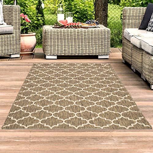 Outdoor-Teppich Flachgewebe Teppich Terrasse Balkon, Modern mit Geometrischen Muster in Beige für Außen und Innen Größe 120/170 cm