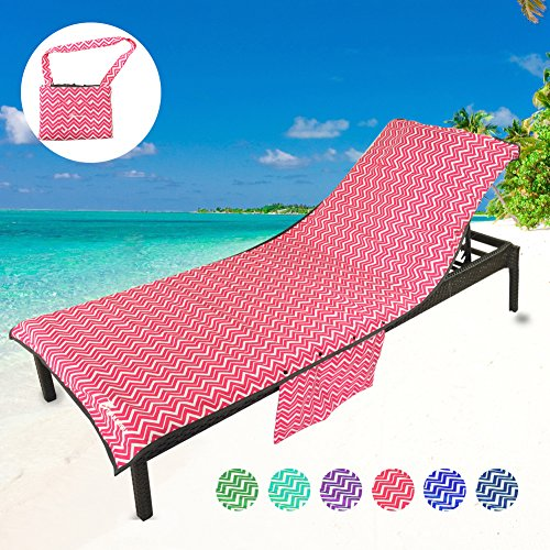 YOULERBU Thickened Microfiber Beach Chair Cover with Detachable Side Pockets, Pool Lounge Chair Cover with Pillow Quick Drying Terry Towels