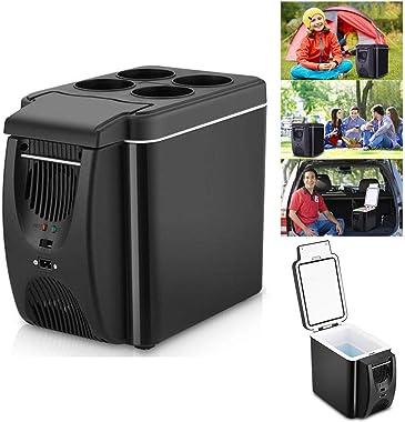 Mini Car Fridge 12V Refrigerator Freezer Heater 6L, Cooler & Warmer Electric Fridge Portable for Travel Camping