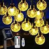 Solar String Lights, 36ft 60 LED Outdoor Solar String Lights, Solar Powered/USB with Remote, 8 Modes Waterproof Solar String Outdoor Lights for Christmas, Party, Patio, Home, Garden, Yard (Warm White)