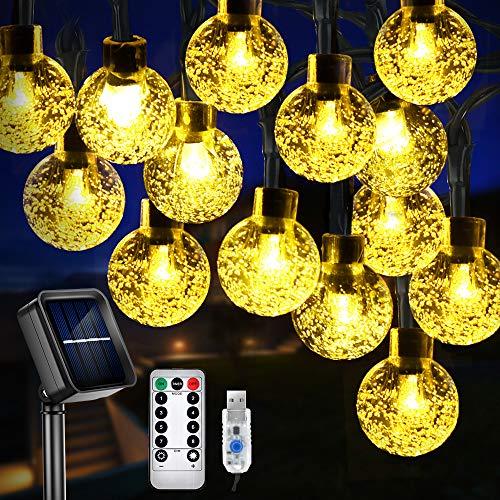 LED Solar Lichterketten, 60 LEDs 11m Solarlichterkette Garten Wasserdichte Außenlichterkette, 8 Modi Solar/USB Wiederaufladbar mit Fernbedienung, Solar Beleuchtung Deko für Party/Christmas, Warmweiß