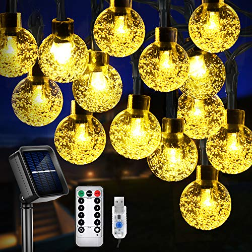 Solar String Lights, 60 LEDs 36ft Outdoor Garden Lights Waterproof LED String Lights Indoor Fairy Lights, Solar Powered/USB with Remote, Decorative Lighting for Garden, Patio, Christmas, Warm White