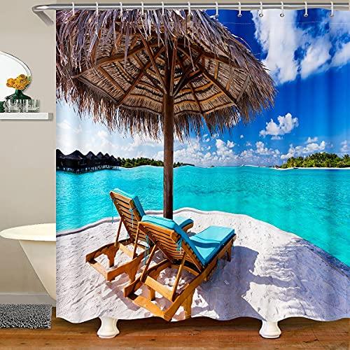 Loussiesd Cortina de ducha hawaiana para playa, impermeable, con 12 ganchos para paradas, sombrillas, sillas y bañeras de 172 x 172 cm
