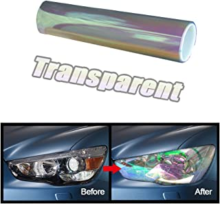 ATMOMO Transparent 12 by 80 Inchs Self Adhesive Shiny Chameleon Headlights Films Tint Vinyl Film