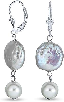 Orecchini penzoloni in argento nero biwa perla colta da sposa biwa