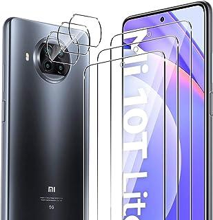 ELYCO [6 Pièces] pour Xiaomi Mi 10T Lite 5G Verre Trempé + Caméra Arrière Protecteur, 9H Dureté sans Bulles Protection écr...