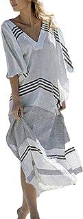 ACO Stylish Deep V-Neck Design Long Beach Top w/Swimsuit Cover Up,Stripe