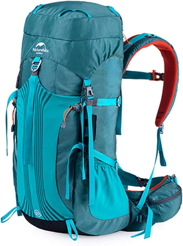 HENDTOR 55L 65L Professionelle Wanderrucksack Wasserabweisend Backpacking Bag Für Camping Trekking Bergsteigen 55L Blau