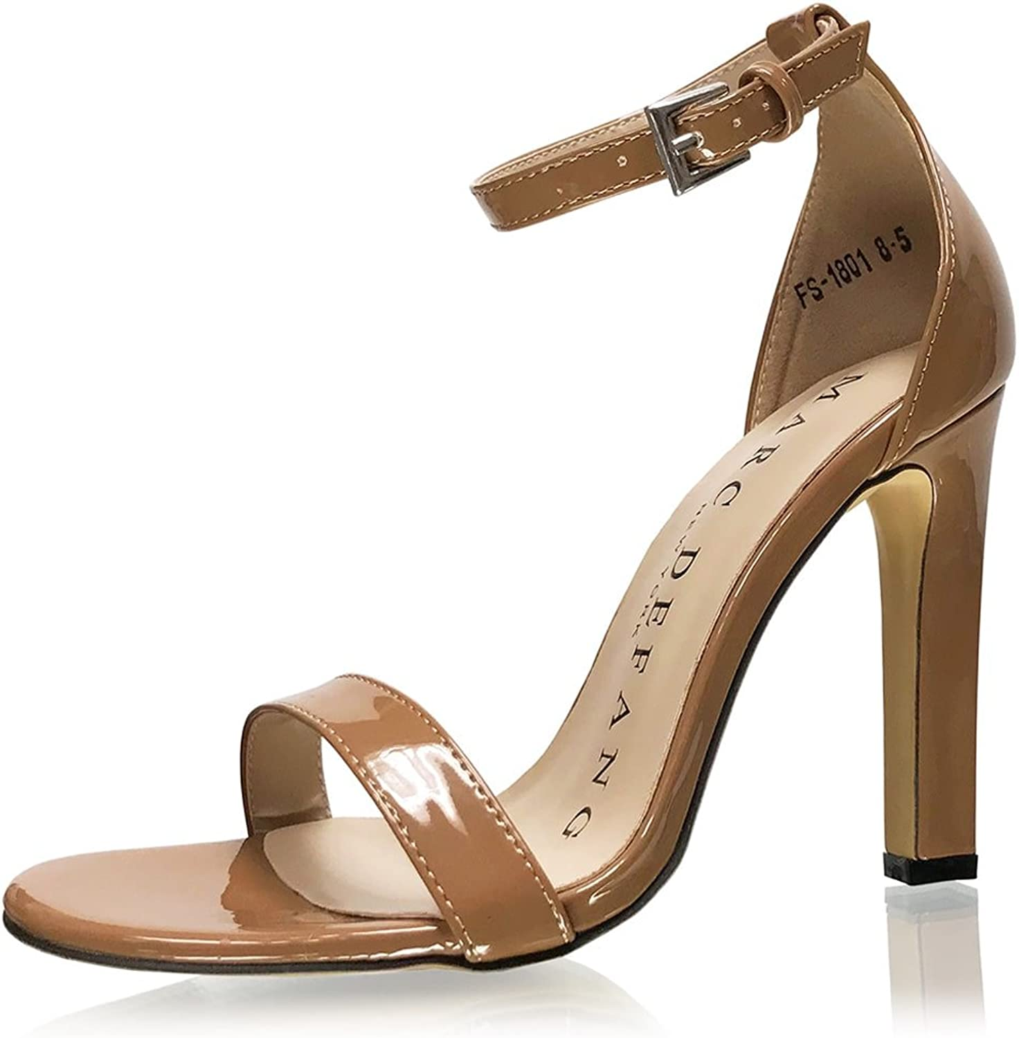 Marc Defang New York Womens Sturdy Nude Strappy Sandal Pageant Prom Pumps