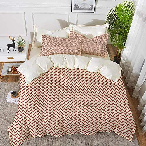 ropa de cama - Juego de funda nórdica, abstracto, formas pequeñas redondeadas Diseño conceptual con diseño de espiga Diseño minimalista de laberinto, funda nórdica de microfibra hipoalergénica con 2 f