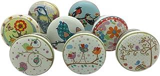 G Decor - Lot de 8 poignées en céramique pour porte, tiroir et armoire - Motifs d'oiseaux et jardin - Style vintage et shabby chic