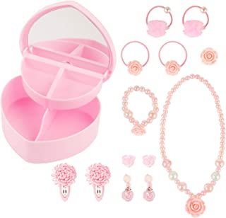 HaiMay 14 Pieces Little Girl Jewellery Accessories Children Kids Girl Pretend Play Earrings Necklace Dress up Rings Set All Packed in a Gift Box