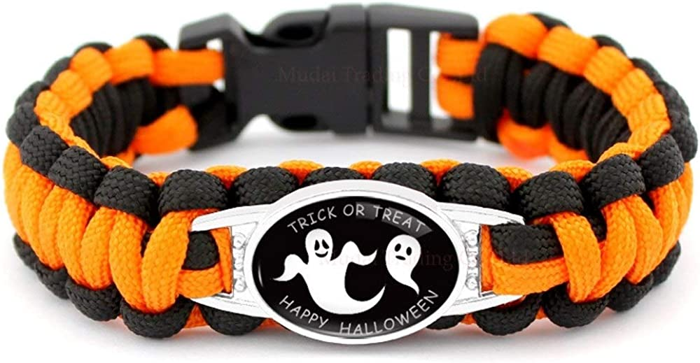 The Electric Mammoth Halloween Orange and Black Paracord Bracelets