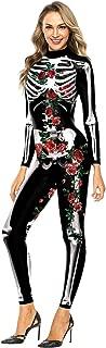 Womens Halloween Costume Skeleton 3D Printed Bodysuit Clown/Skull Cosplay Jumpsuit