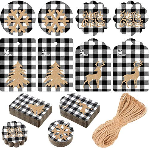 200 Pieces Christmas Paper Tags Kraft Tags Hang Labels with White and Black Plaid Snowflake Christmas Tree Elk Patterns and 66 Feet Twine Rope for Christmas