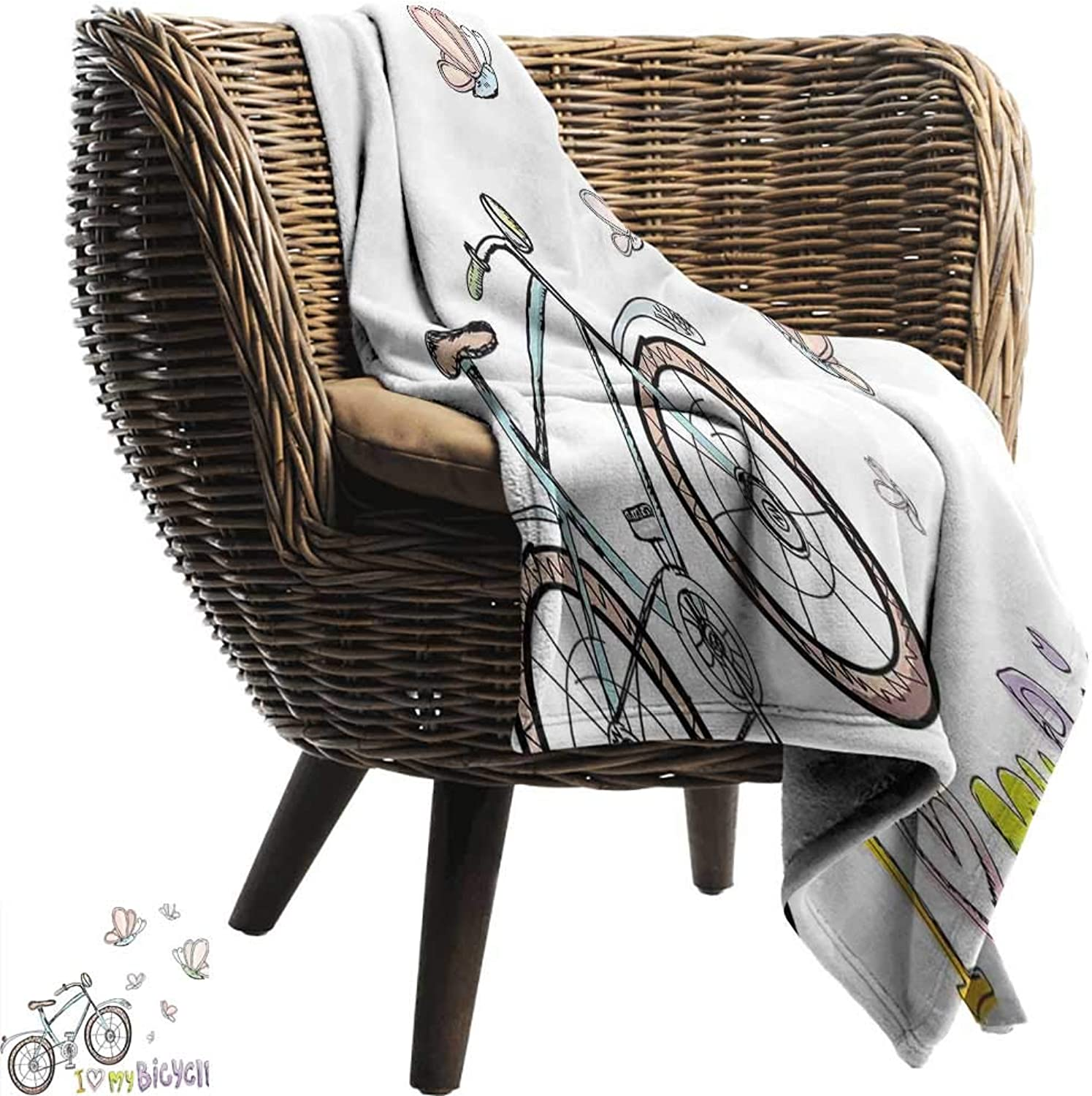 WinfreyDecor Bicycle Super Soft Blankets Doodle Style Cycling Leisure Theme with A Little Kids Fashionable Cute Bike Butterflies Bedroom Warm 60  Wx51 L Multi