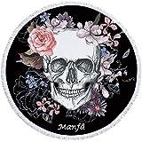 Manfâ Couverture de Serviette de Plage Ronde crâne Fleur de Squelette Couverture de Plage Roundie Line Art Couverture de Plage Roundie