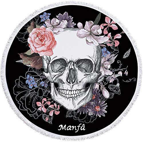 Manfâ Skull Round Toalla de Playa Manta de Esqueleto Flor Roundie Manta de Playa Línea Arte Roundie Manta de Playa