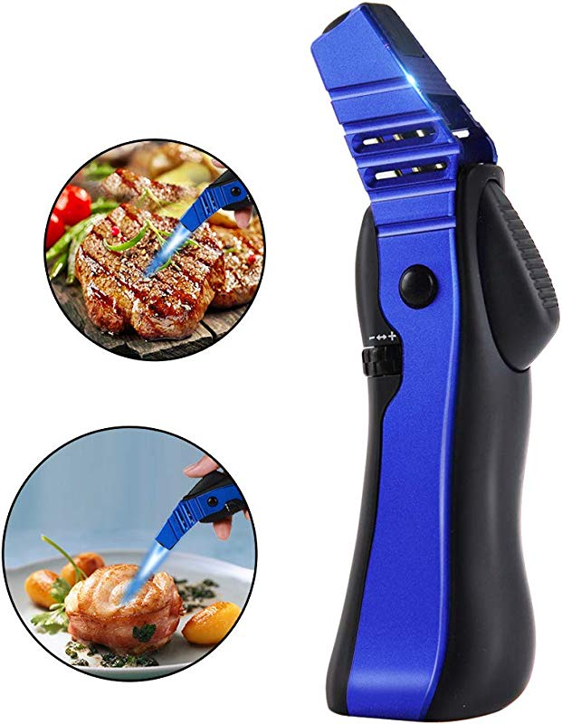 Cooking Torch Kitchen Torch Culinary Butane Torch For Baking BBQ Creme Brulee DIY More Refillable Blow Torch Lighters With Adjustable Flame And Safety Lock Fuel Not Included
