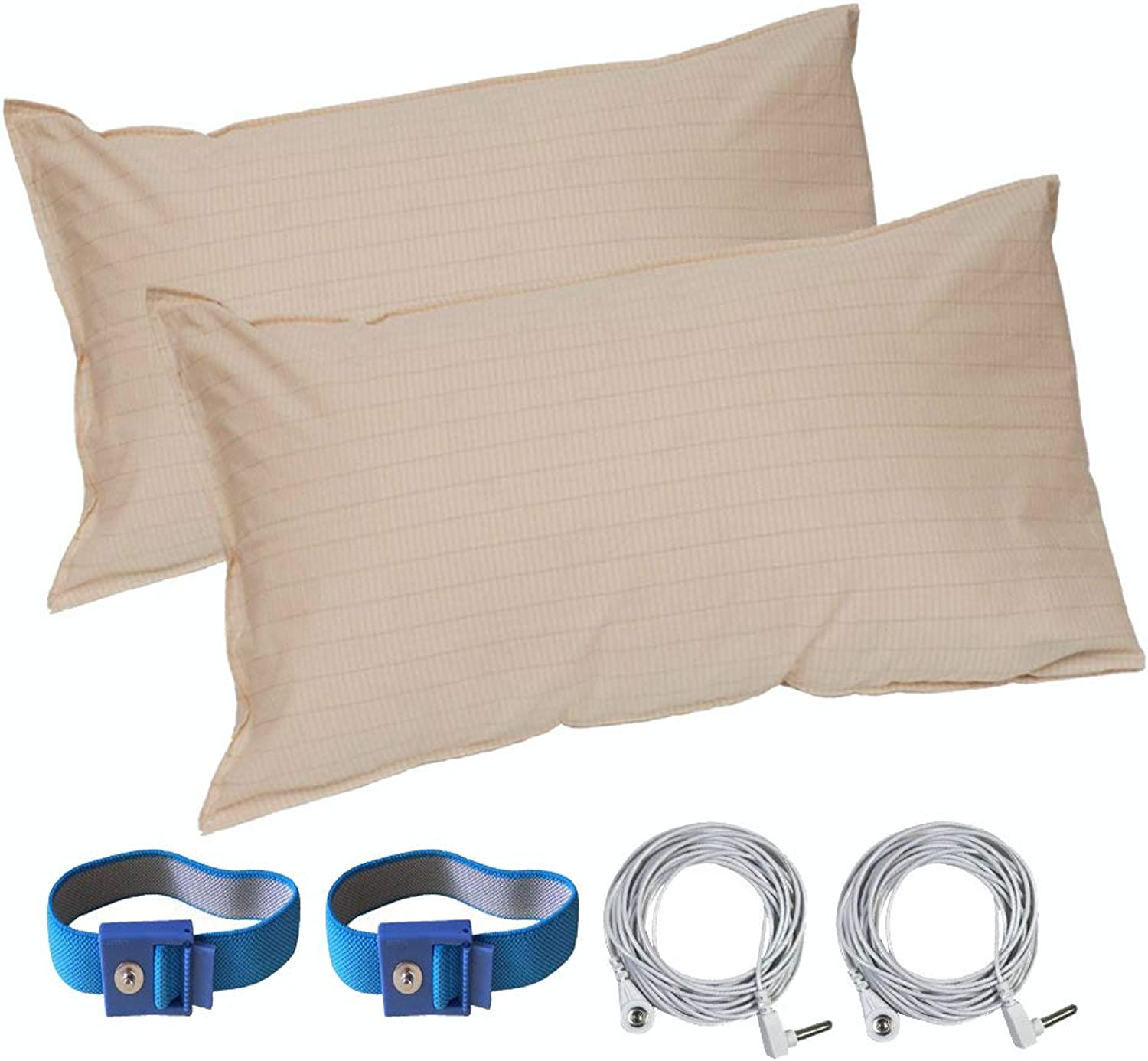 LandKissing Grounding Pillow Case (2 Sets) (Extra Size 31 x20 ) Beige for Healthy Earthing Energy with 2 Straight Cords and 2 Grounding Bracelets