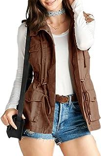 Women's Sleeveless Hooded Anorak Cotton Cargo Utility Vest