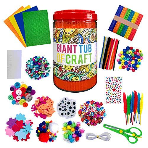 miuline Juego de manualidades para niños, cuentas de plástico, palos de madera, rollos de papel, barras de pegamento, rayo acrílico, adecuado para regalos infantiles.