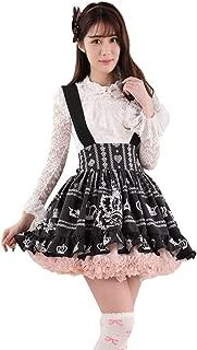 Black Polyester Lace Crown Printed Lolita Suspender Skirt