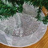 Houwsbaby Falda de árbol de Navidad de lentejuelas plateadas de escala de lujo con borde de satén brillante Decoración de paillette brillante Adorno de alfombra de doble capa para vacaciones (02)