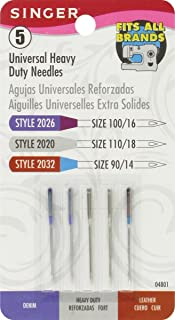 SINGER 04801 Universal Heavy Duty Sewing Machine Needles, 5-Count