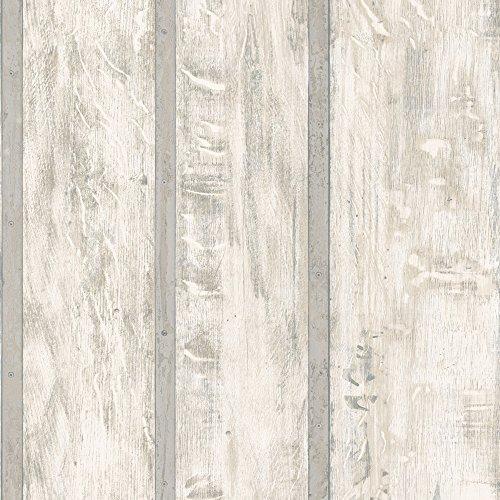 Muriva Ltd J68208 12 rollen net als het hout behang Medium Kleur: wit