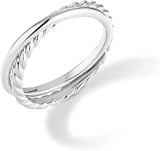Miabella 925 Sterling Silver Double Interlocked Rolling Stacking Plain and Rope Ring for Women Teens Girls Made in Italy
