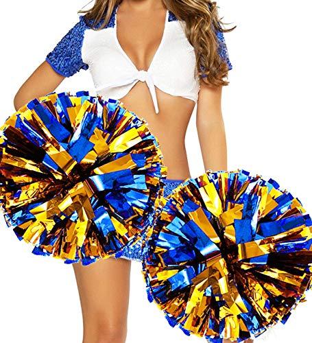 hatisan 4 Stücke Groß Cheerleading Pompons, Cheerleading Pom Pom Cheerleader Pompons Zum Sport Prost Ball Tanz Verrücktes Kleid Nacht Party(14 '') (Gold + Blau)