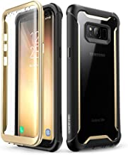 i-Blason Ares Full-Body Rugged Clear Bumper Case with Built-in Screen Protector for Samsung Galaxy S8+ Plus 2017 Release, Black/Gold