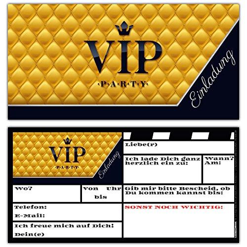 BREITENWERK 14er Set V.I.P. Einladungskarten - edle Premium Einladungen für VIP-Party Event Kinder-Geburtstag für Jungen Mädchen und Erwachsene