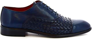 LEONARDO SHOES Luxury Fashion Mens 188BLUE Blue Lace-Up Shoes | Season Permanent