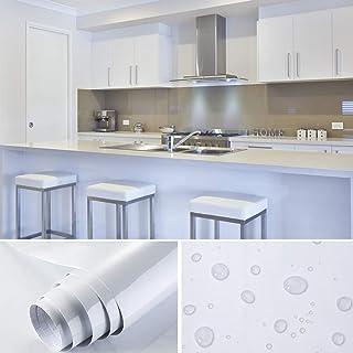 Rollo de papel pintado, 5,5 m x 0,61 m, PVC, autoadhesivo, cocina, para armario, mueble, cubierta blanca + raspador