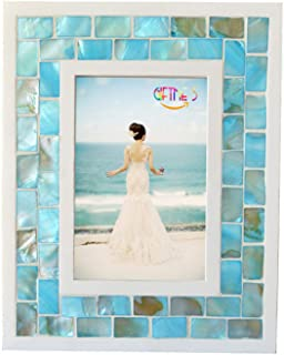 GIFTME 5 Picture Frame 5x7 Mother of Pearl Mosaic Photo Frame,Beach Tabletop or Wall Hanging Picture Frame(5x7 inch, Blue)