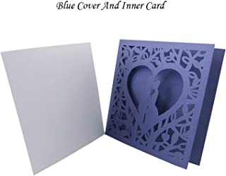 1Pcs Blue White Gold Red Hollow Heart Laser Cut Wedding Invitation Card Greeting Card Personalized Party Decoration Supplies,Cover and Inner Card,OneSize