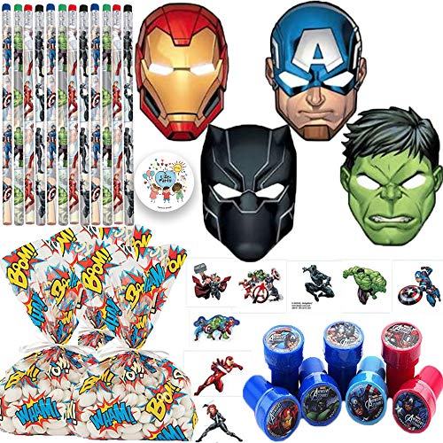 Avengers Goodie Bag Filler and Birthday Party Favor Pack For 12 Guests With Masks, Stampers, Tattoos, Goody Bags, Pencils, and Pin