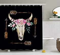 ASOCO Fabric Shower Curtain Watercolor Deer Skull White Boho Antlers with Flowers Arrows Bathroom Shower Curtains Resistant Waterproof Set of Hooks 72X78 Inches