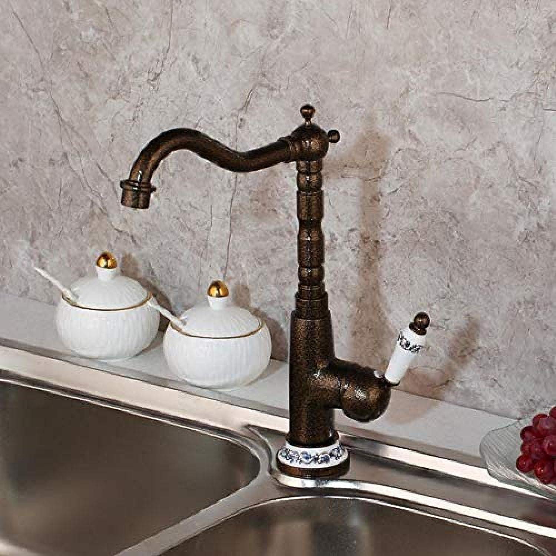Küchenmischer New Küchenmischer Spüle Mischbatterie 360 Swivel Roman Bronze Messing Art Wasserfall Deck montiert Armaturen 360 Rotating