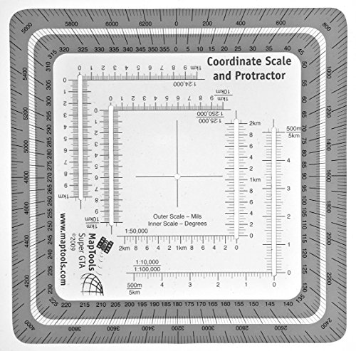 MapTools Improved Military Style MGRS/UTM Coordinate Grid Reader, and Protractor
